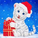 Craft Buddy CCK-XM57 - Crystal Card Christmas White Tiger